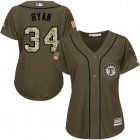 Cheap Rangers #34 Nolan Ryan Green Salute to Service Women's Stitched Baseball Jersey