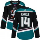Cheap Adidas Ducks #14 Adam Henrique Black/Teal Alternate Authentic Women's Stitched NHL Jersey