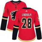 Cheap Adidas Flames #28 Elias Lindholm Red Home Authentic Women's Stitched NHL Jersey