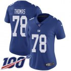 Cheap Nike Giants #78 Andrew Thomas Royal Blue Team Color Women's Stitched NFL 100th Season Vapor Untouchable Limited Jersey