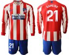 Cheap Atletico Madrid #21 Gameiro Home Long Sleeves Soccer Club Jersey