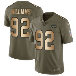 Cheap Nike Jets #92 Leonard Williams Olive/Gold Youth Stitched NFL Limited 2017 Salute to Service Jersey