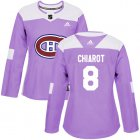 Cheap Adidas Canadiens #8 Ben Chiarot Purple Authentic Fights Cancer Women's Stitched NHL Jersey
