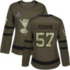 Cheap Adidas Blues #57 David Perron Green Salute to Service Stanley Cup Champions Women's Stitched NHL Jersey