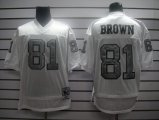 Cheap Mitchell And Ness 1994 Raiders #81 T.Brown White Silver No. Stitched NFL Jersey With 75TH Anniversary Patch