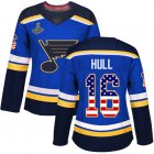 Cheap Adidas Blues #16 Brett Hull Blue Home Authentic USA Flag Stanley Cup Champions Women's Stitched NHL Jersey