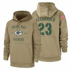 Cheap Green Bay Packers #23 Jaire Alexander Nike Tan 2019 Salute To Service Name & Number Sideline Therma Pullover Hoodie
