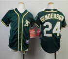 Cheap Athletics #24 Rickey Henderson Green Cool Base Stitched Youth MLB Jersey