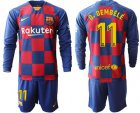 Cheap Barcelona #11 O.Dembele Home Long Sleeves Soccer Club Jersey