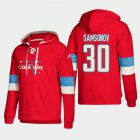 Cheap Washington Capitals #30 Ilya Samsonov Red adidas Lace-Up Pullover Hoodie