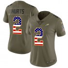 Cheap Nike Eagles #2 Jalen Hurts Olive/USA Flag Women's Stitched NFL Limited 2017 Salute To Service Jersey