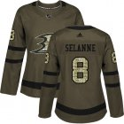 Cheap Adidas Ducks #8 Teemu Selanne Green Salute to Service Women's Stitched NHL Jersey