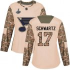 Cheap Adidas Blues #17 Jaden Schwartz Camo Authentic 2017 Veterans Day Stanley Cup Champions Women's Stitched NHL Jersey