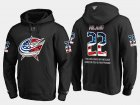 Cheap Blue Jackets #22 Sonny Milano NHL Banner Wave Usa Flag Black Hoodie