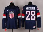 Cheap 2014 Olympic Team USA #28 Blake Wheeler Navy Blue Stitched NHL Jersey