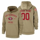 Cheap San Francisco 49ers Custom Nike Tan 2019 Salute To Service Name & Number Sideline Therma Pullover Hoodie