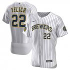 Cheap Milwaukee Brewers Christian Yelich Men's Nike White Home 2020 Authentic Player MLB Jersey