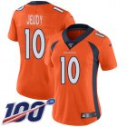 Cheap Nike Broncos #10 Jerry Jeudy Orange Team Color Women's Stitched NFL 100th Season Vapor Untouchable Limited Jersey