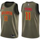 Cheap Hawks #11 Trae Young Green Basketball Swingman Salute to Service Jersey