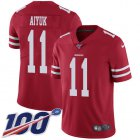 Cheap Nike 49ers #11 Brandon Aiyuk Red Team Color Youth Stitched NFL 100th Season Vapor Untouchable Limited Jersey