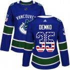 Cheap Adidas Canucks #35 Thatcher Demko Blue Home Authentic USA Flag Women's Stitched NHL Jersey