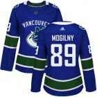 Cheap Adidas Canucks #89 Alexander Mogilny Blue Home Authentic Women's Stitched NHL Jersey