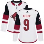 Cheap Adidas Coyotes #9 Clayton Keller White Road Authentic Women's Stitched NHL Jersey