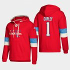 Cheap Washington Capitals #1 Pheonix Copley Red adidas Lace-Up Pullover Hoodie
