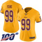 Cheap Nike Redskins #99 Chase Young Gold Women's Stitched NFL Limited Rush 100th Season Jersey