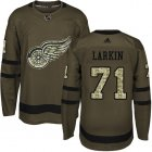 Cheap Adidas Red Wings #71 Dylan Larkin Green Salute to Service Stitched Youth NHL Jersey