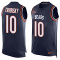 Cheap Nike Bears #10 Mitchell Trubisky Navy Blue Team Color Men's Stitched NFL Limited Tank Top Jersey
