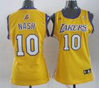 Cheap Los Angeles Lakers #10 Steve Nash Yellow Womens Jersey