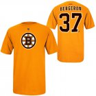 Cheap Boston Bruins #37 Patrice Bergeron Reebok Name and Number Player T-Shirt Gold