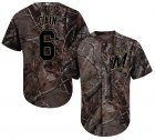 Cheap Brewers #6 Lorenzo Cain Camo Realtree Collection Cool Base Stitched Youth MLB Jersey