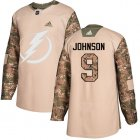 Cheap Adidas Lightning #9 Tyler Johnson Camo Authentic 2017 Veterans Day Stitched NHL Jersey