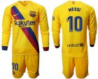 Cheap Barcelona #10 Messi Away Long Sleeves Soccer Club Jersey