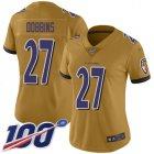 Cheap Nike Ravens #27 J.K. Dobbins Gold Women's Stitched NFL Limited Inverted Legend 100th Season Jersey