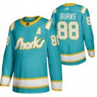Cheap San Jose Sharks #88 Brent Burns Men's Adidas 2020 Throwback Authentic Player NHL Jersey Teal