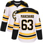 Cheap Adidas Bruins #63 Brad Marchand White Road Authentic Women's Stitched NHL Jersey
