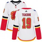 Cheap Adidas Flames #19 Matthew Tkachuk White Road Authentic Women's Stitched NHL Jersey