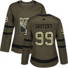 Cheap Adidas Rangers #99 Wayne Gretzky Green Salute to Service Women's Stitched NHL Jersey