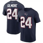 Cheap New England Patriots #24 Stephon Gilmore Nike Team Player Name & Number T-Shirt Navy