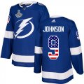Cheap Adidas Lightning #9 Tyler Johnson Blue Home Authentic USA Flag Youth 2020 Stanley Cup Champions Stitched NHL Jersey