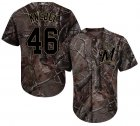 Cheap Brewers #46 Corey Knebel Camo Realtree Collection Cool Base Stitched Youth MLB Jersey