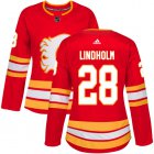 Cheap Adidas Flames #28 Elias Lindholm Red Alternate Authentic Women's Stitched NHL Jersey