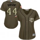 Cheap Twins #44 Kyle Gibson Green Salute to Service Women's Stitched MLB Jersey