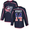 Cheap Adidas Blue Jackets #14 Gustav Nyquist Navy Blue Home Authentic USA Flag Stitched NHL Jersey