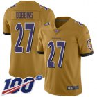 Cheap Nike Ravens #27 J.K. Dobbins Gold Youth Stitched NFL Limited Inverted Legend 100th Season Jersey