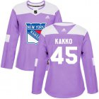 Cheap Adidas Rangers #45 Kappo Kakko Purple Authentic Fights Cancer Women's Stitched NHL Jersey