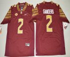Cheap Men's Florida State Seminoles #2 Deion Sanders Red Stitched College Football 2016 Nike NCAA Jersey